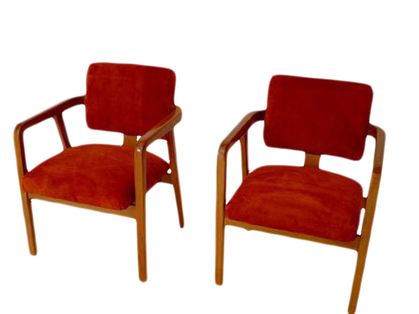 Beautiful George Nelson Maple U0026 Orange Suede Chairs   A Pair