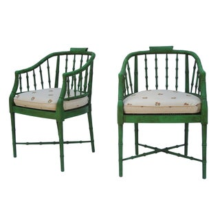 Faux Bamboo Baker Furniture Chairs - Pair