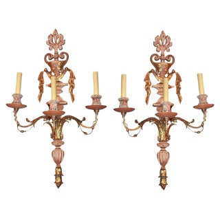 Pair of Carved Wood & Gilt Metal Sconce