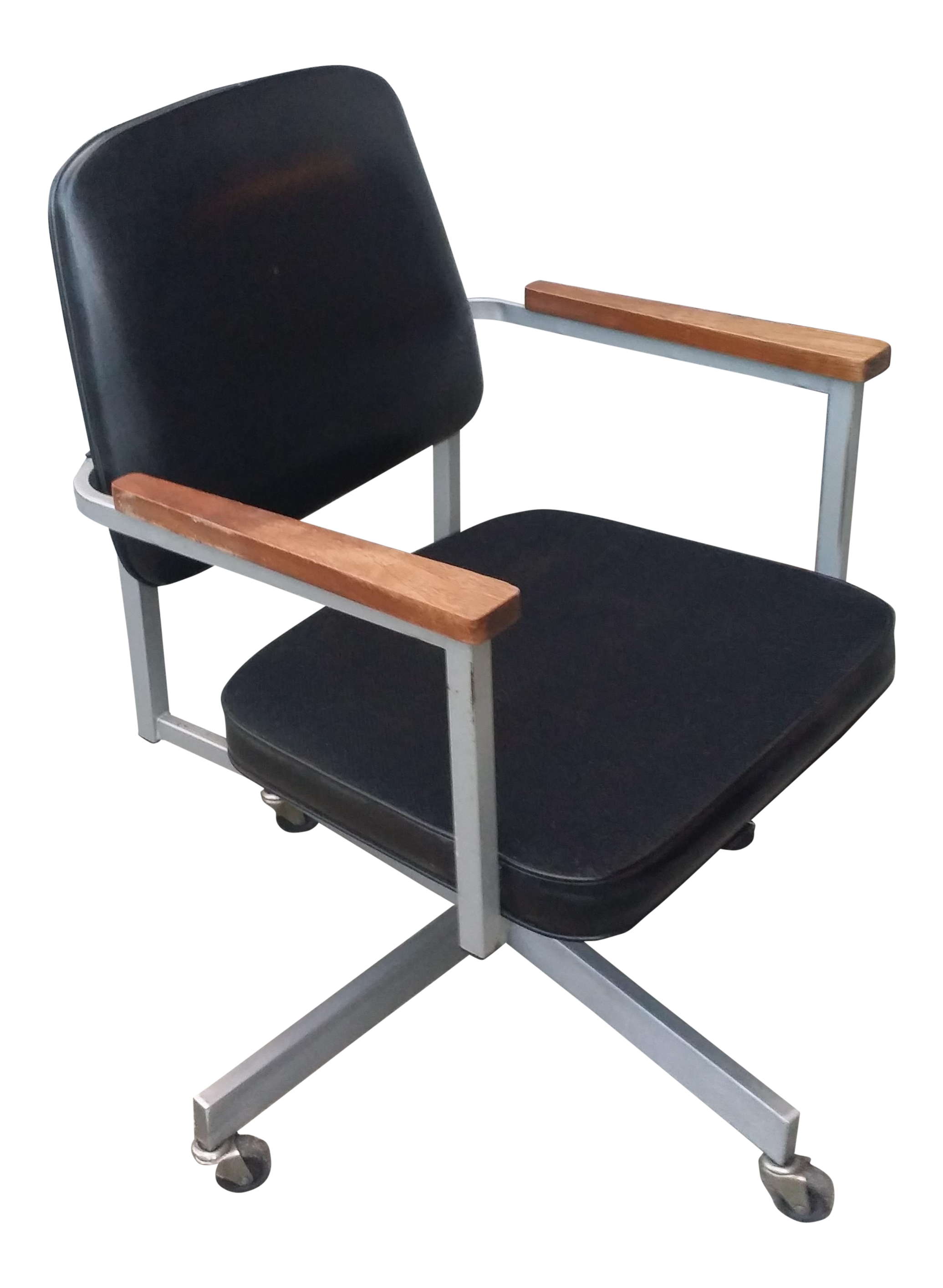 midcentury modern office chair - Gray Leather Office Chair