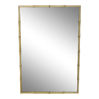 Hollywood Regency Faux Bamboo Brass Mirror Frame