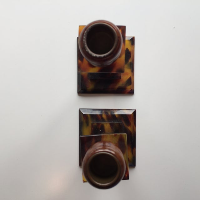 Tortoise Shell Candlesticks- a Pair - Image 6 of 6