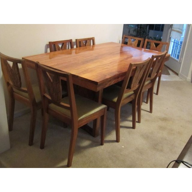 Beautiful koa wood dining set table 8 chairs chairish for Beautiful wood dining tables