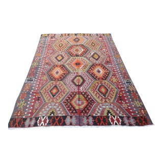 Vintage Turkish Kilim Rug - 6′6″ × 9′9″