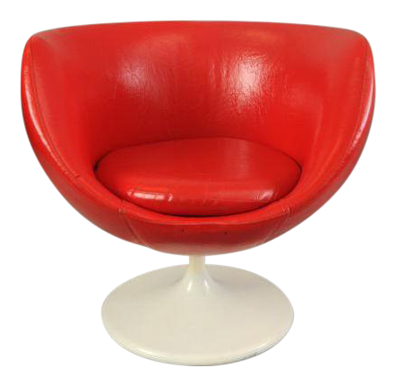 vintage saarinen midcentury modern red vinyl tulip base pod club chair