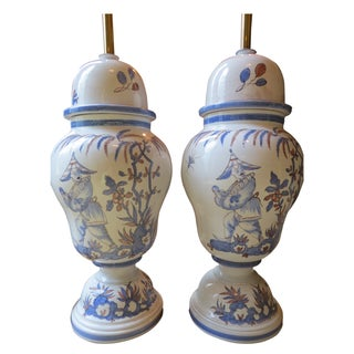 Chinoiserie Hand-Painted Italian Lamps - A Pair