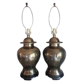 Vintage Paul Hanson Brass Ginger Jar Lamps - Pair