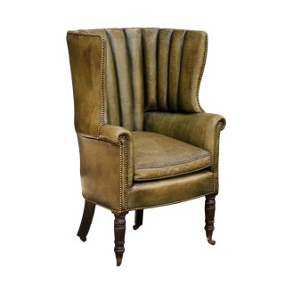 1870 English Library Barrel Wingback Chair in Green Leather Upholstery