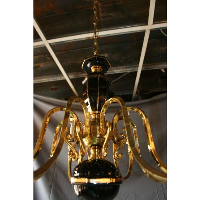 Image of Black & Gold Porcelain and Brass Chandelier