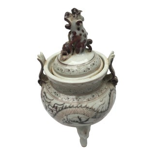 Chinese Dragon Vase W/ Foo Dog Handle Lid