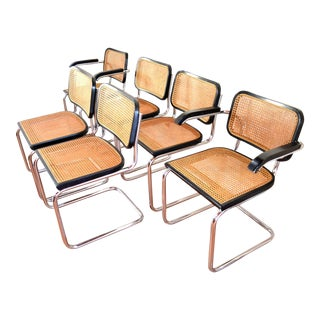 Mid-Century Cane and Chrome Dining Chairs- Set of 6