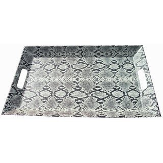 Leather Covered Faux Snake Embossed Tray
