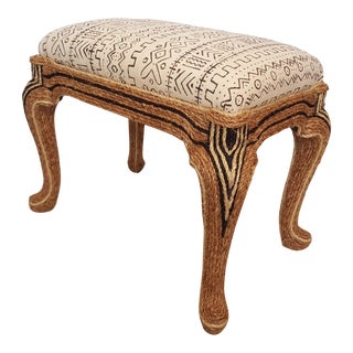 Sisal Rope Bench with White Mud Cloth