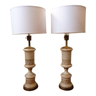 Vintage Regency White & Gold Table Lamps -A Pair