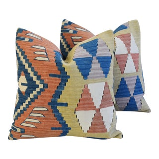 Anatolian Turkish Kilim Wool Feather/Down Pillows - A Pair