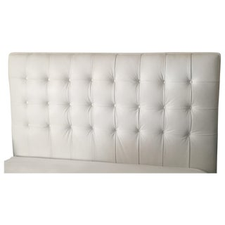 White Leather Tufted Queen Headboard