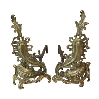 Baroque Bronze Andirons - A Pair