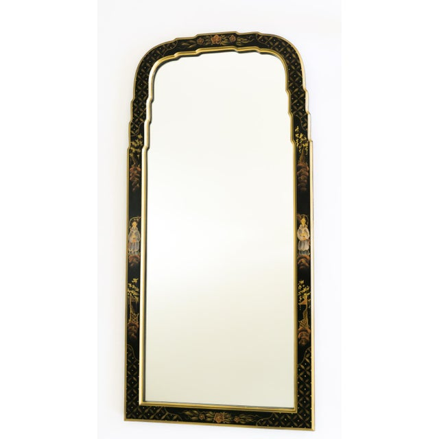 Image of Black Lacquered Chinoiserie Chippendale Mirror