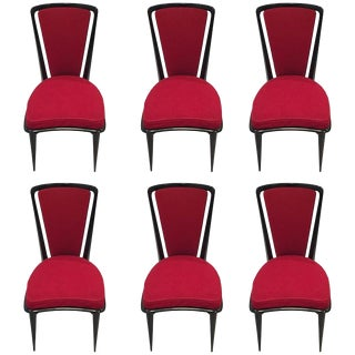 French Art Deco Black Lacquer Dining Chairs - Set of 6