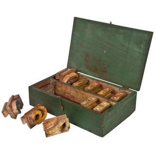 Vintage Handmade Wood Block Number Stamping Kit