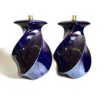 Image of Vintage Modern Cobalt Blue Ceramic Lamps - A Pair