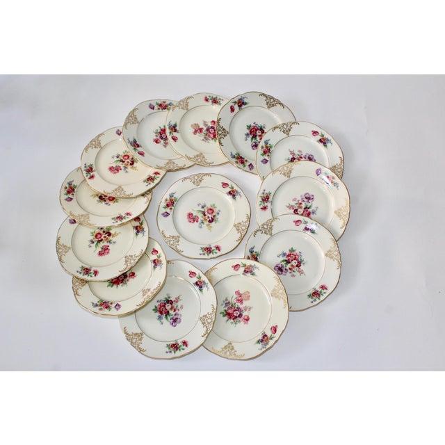 Set of 13 Floral Porcelain Czechoslovakian Epiag Dessert/Bread Plates - Image 2 of 11