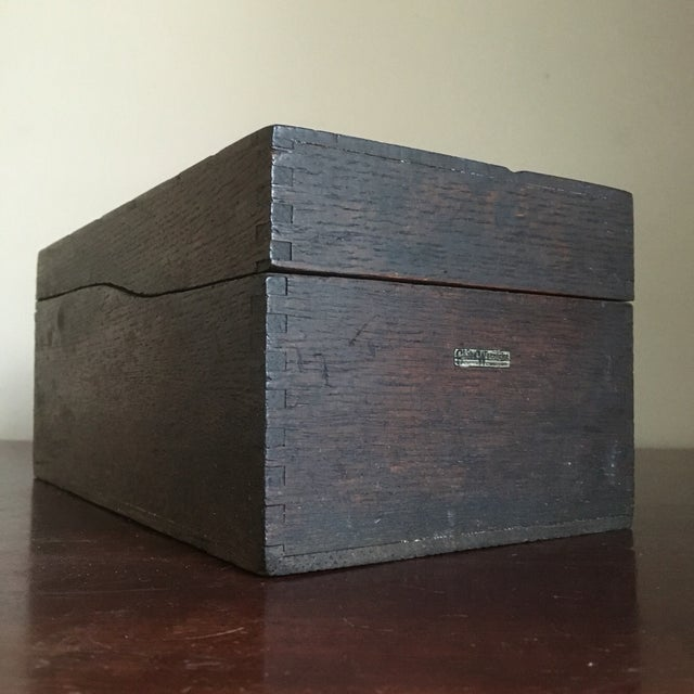 Image of Vintage Globe Wernicke Wooden Index Card File Box