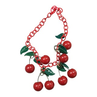 1940s Red Cherries Bakelite Necklace