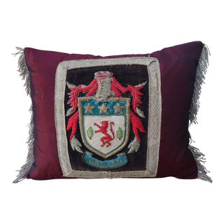 Bordeaux Coat of Arms Applique Silk Pillow