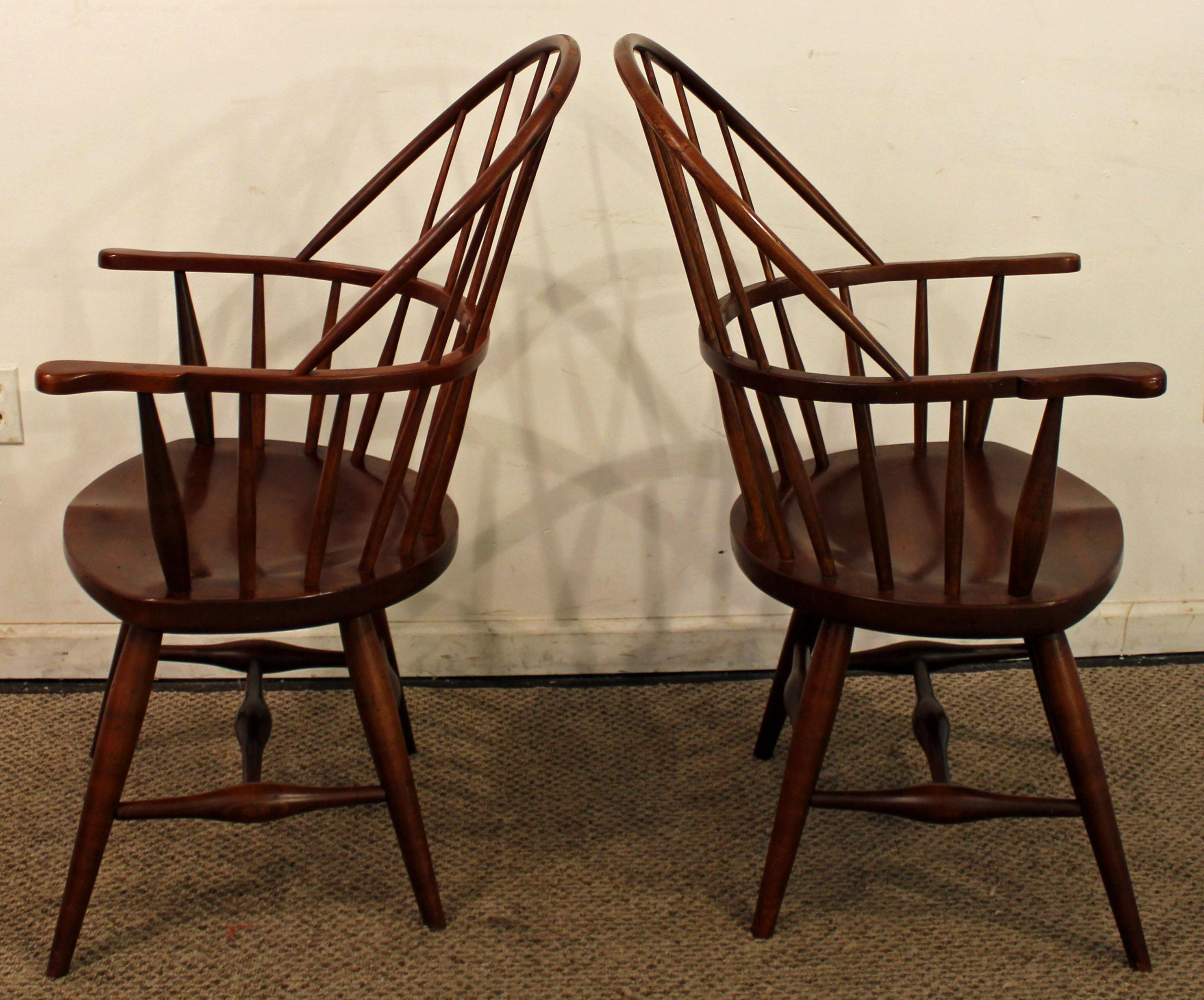 Lovely Duckloe Bros Cherry Hoop Back Windsor Arm Dining Chairs   A Pair   Image 3