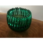 Image of Blenko Glass Emerald Crimped Bowl