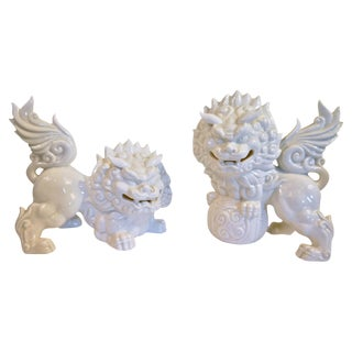 White Japanese Porcelain Foo Dogs
