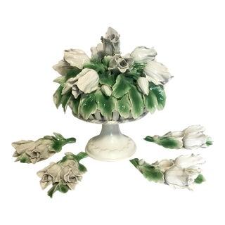 Vintage Italian Porcelain Floral Epergne - Set of 5