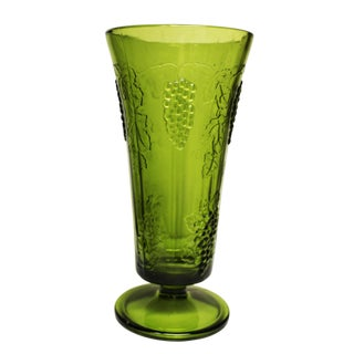 Grape Motif Green Glass Fluted Vase
