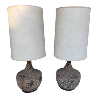 Mid-Century Modern Cork Lamps - A Pair