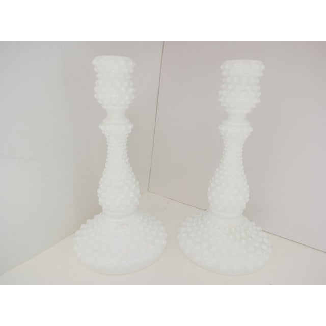 Image of Milk Glass Hobnail Candlesticks - A Pair