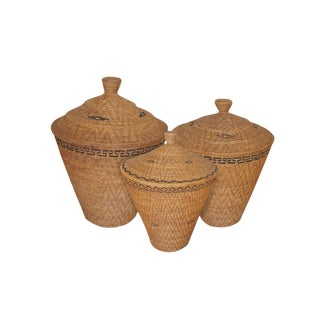 Bali Woven Ata Lidded Storage Baskets - Set of 3