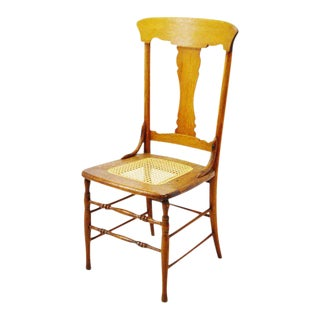Early Oak Cane Seat Splat Back Accent Chair