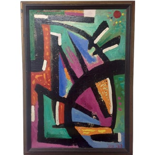 1980 Abstract Oil Painting by Broders