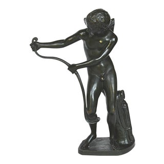 French Bronze Winged Boy & Bow Figure
