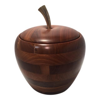Mid-Century Walnut Wood Apple Ice Bucket