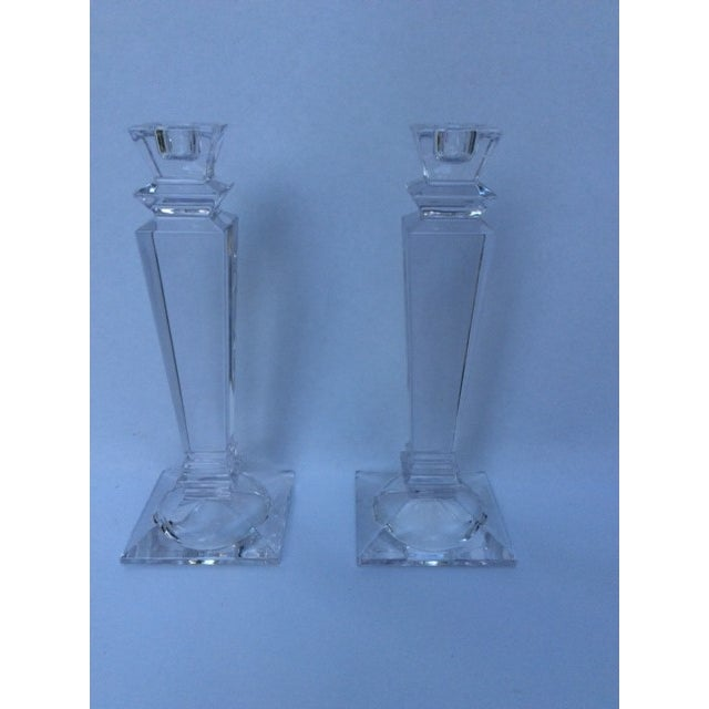 Tiffany Square Crystal Candlesticks - Pair - Image 3 of 3