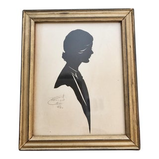 1963 Framed Cut Paper Silhouette of Young Woman