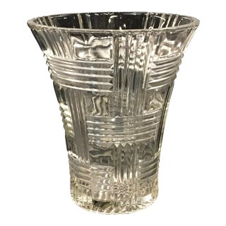 1930s Anchor Hocking Crystal Glass Prismatic Criss Cross Vase