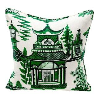 "Linen Chinoiserie Nanjing Pillow in Jade - 18"" x 18"""