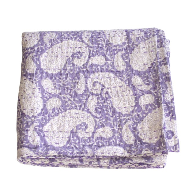 Purple Kantha Throw, Full Size - Image 1 of 3