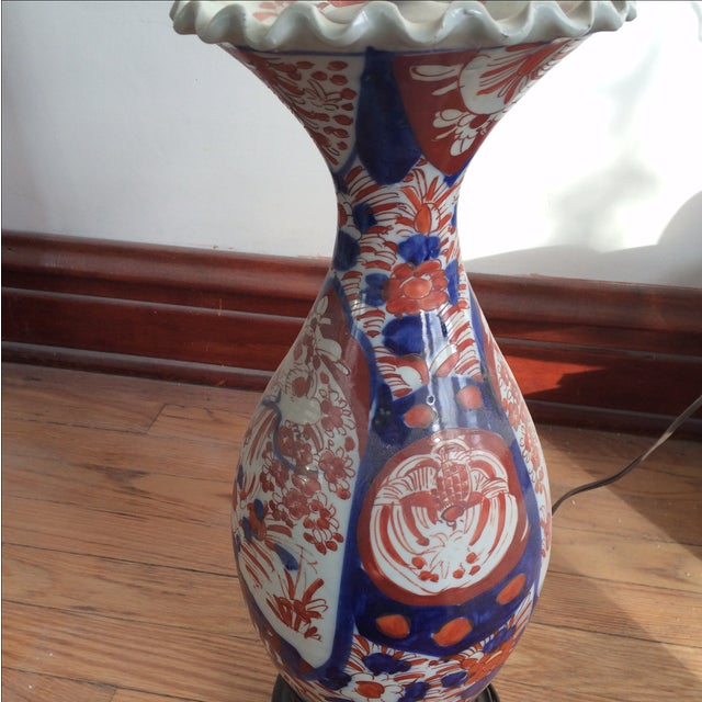 Antique Chinese Red & Blue Porcelain Table Lamp - Image 7 of 11