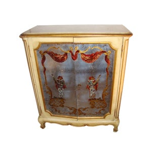 1930s Vintage Maison Jansen Verrne Eglomised & Painted Cabinet Commode