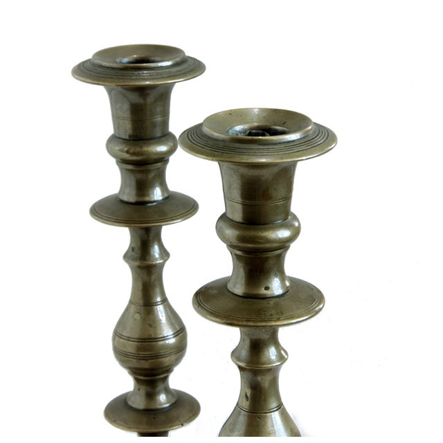 19th Century Russian Brass Candlesticks- a Pair - Image 3 of 5