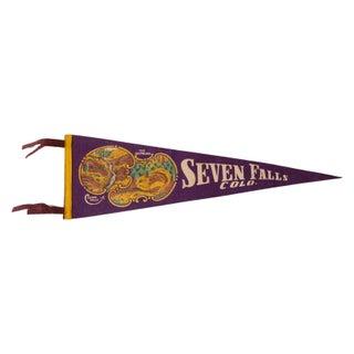 Vintage 1950s Seven Falls Colorado Felt Flag